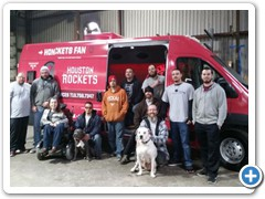 Happy Conversion Crew of Houston Rockets Conversion Van